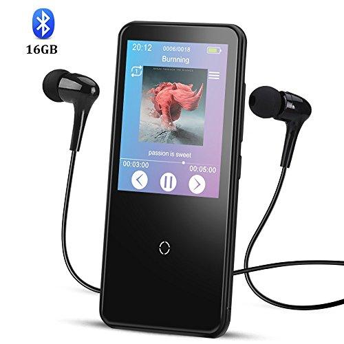 Touche Tactile 16Go Haut-Parleur Mp3 Bluetooth 4.0 Grand Ecran HD 2,4'' Lecteur Musical en Métal HiFi Stéréo, Baladaeur Bluetooth Sport Corps Miroir avec Boutons Tactiles- C10 Noir AGPTEK