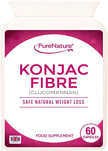 Konjac Fibre Glucomannan 60 Capsules Proven Safe Natural Weight Loss Diet Slimming Pills UK Made | F...