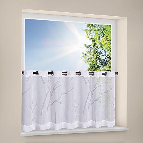 Gardine / Panneau / Scheibengardine halbtransparent / Ösenbistro / Scheibengardine mit Ösen / Bistro ÄSTE / modernes Wohnen / B/H: 140 x 50cm / Bistrogardine / halbtransparente Qualität (weiß)