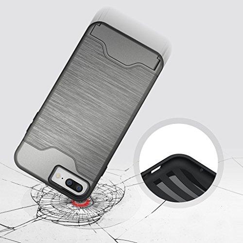 """Etui iphone 7 Plus Coque , ivencase Gris [Shockproof] [Extra Grip] Hybride Etui avec [Card Slot & Holder] pour iPhone 7 Plus 5.5"""" gris"""