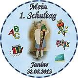 Tortenaufleger Fototorte Tortenbild Schulanfang Einschulung 1. Schultag Rund 14 cm Durchmesser SE09