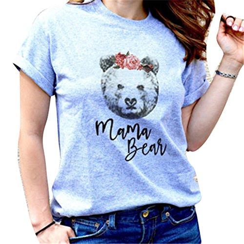 Junkai Famille Assortis Tops Ours Tie pour Maman Papa Enfants bébé Match T-Shirt Mama Bear M