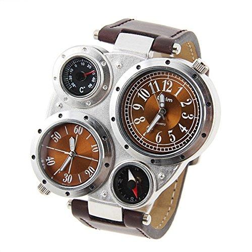 pixnor-oulm-9145-stile-retro-uomo-quarzo-dual-time-zone-sport-orologio-da-polso-con-fascia-pucompass