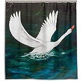 Setyserytu Cortinas de baño/Cortinas de baño, Oil Painting White Swan Flying On Dark Lake Water Shower Curtain Custom Waterproof Fabric Curtain Bathroom Decor with 12 Hooks
