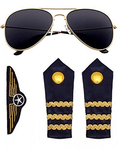 Horror-Shop Piloten Kostümzubehör Set 4-tlg. als Flugzeugkapitän Verleidung für...