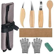 Holz-Schnitzwerkzeug Set, Powcan 6 teiliges Holz-Schnitzmesser Holz Schnitzmesser Set inkl. Sloyd Knife Span-Tranchiermesser Hakenmesser schnitzen für Löffel Schüssel Tasse Kuksa