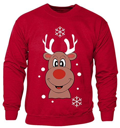 New Kids Childrens Boys Girls Smiley Reindeer Christmas Sweatshirt Jumpers 2-14 years (Kids 11-12 Years) Red (Kinder Weihnachten Pullover)