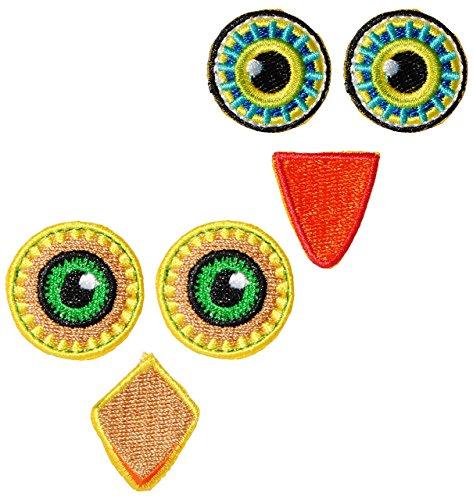 Unbekannt XL Bügelbild -  2 Verschiedene - lustige Gesichter  - Aufnäher Applikation - Augen, Nasen & Mund - Eulen / Tiere - Gesicht - gewebter Flicken - Jungen & Mäd..