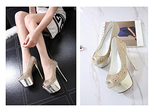 GLTER Donne Peeps Toe Pumps Charme Diamante Four Seasons banchetto scarpe impermeabili Tabella Ultra High Heel Platform Shoes oro Gold
