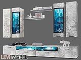 Generic WOHNWAND 8-TLG ANBAUWAND Wohnzimmer Schrank Beton-Optik MATT NEU 884746