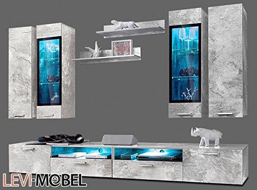 Moebelaktionsshop24 WOHNWAND 8-TLG ANBAUWAND Wohnzimmer Schrank Beton-Optik MATT NEU 884746