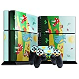 Candy World CWO004, Pilze und Katze, Designfolie Sticker Skin Aufkleber Schutzfolie mit Farbenfrohem Design für Playstation 4 CUH 1200