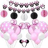 Kreatwow Decorazioni per Feste di Compleanno Minnie Rosa Compleanno per Feste di Compleanno Minnie Fascia per Feste di Compleanno Baby Shower