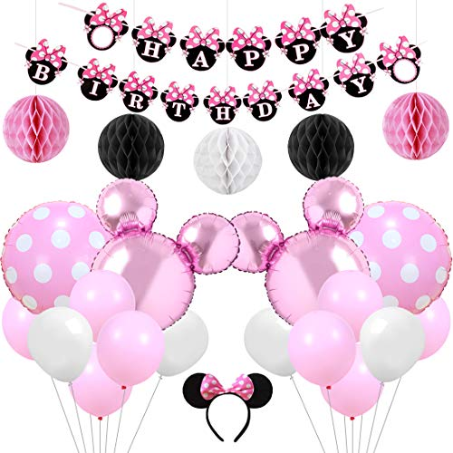 Kreatwow Rosa Minnie Mouse Party Supplies Dekorationen Minnie Happy Birthday Banner Stirnband für Mädchen Geburtstag Baby Shower