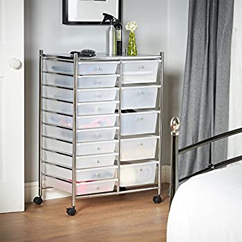 VonHaus 15 Drawer Plastic Storage Trolley with Wheels, Multipurpose Rolling Cart Drawers, Unit for Home Office Stationery Organisation, Crafts, Salon, Make-up, Hairdressing, Beauty - Mobile Design with 10 Tier Shelving – White