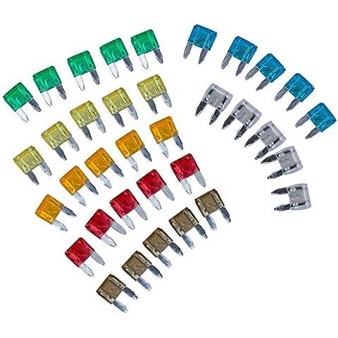 SODIAL(R) 35 piezas Mini Hoja MIXTA Fusible AUTO Autos Motos 5 7,5 10 15 20 25 30 AMP