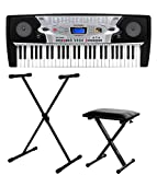 McGrey BK-5420 Beginner-Keyboard SET inkl. höhenverstellbarem Ständer und Sitzbank (54 Tasten, 100 Klangfarben, 100 Rhythmen, 8 Demo Songs, Netzteil, Notenhalter)