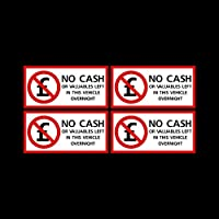 USSP&S 4x No CASH or valuables left in this vehicle overnight Sticker Sign 100x50mm - Car, Van, Lorry, Taxi