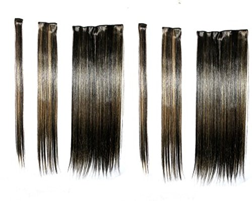 Artifice 6 Pcs 14 Clips Based 22 inch High Temperature Synthetic Fibre Hair Extension (Golden Higlighted)