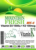 Vitamin D3 1000iu + K2 MK-4 100mcg x 365 1 YEARS Supply All Natural Tablets Max Strength