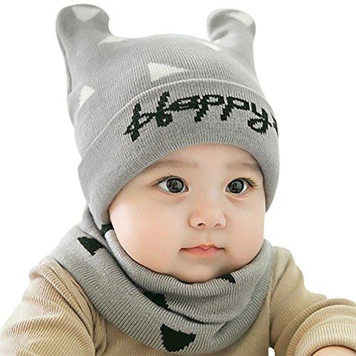 GongZhuMaMa Unisex Baby Mädchen Junge Mütze Schal Babymütze Wintermütze Strickmütze mit Schlauchschal Süßes Design Happy Baby 0-12 Monate Grau