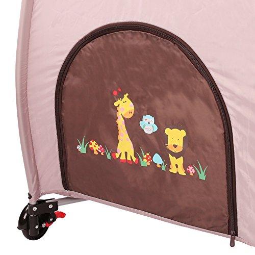 KIDUKU® Kinderreisebett Kinderbett Säuglingsbett Babybett Klappbett Reisebett für Kinder Zweitbett, mit zweiter Ebene für Kleinkinder/Säuglinge, 6 verschiedene Farben, kompakt, höhenverstellbar (Braun)