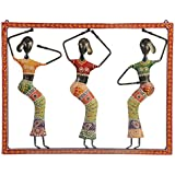 [Sponsored]Anil Art & Craft Iron 3-Doll Hand Painted Panel Wall Hanging With Glass & Bead Work For Decorative, Home Decor And Room Decor, Gifts (46 Cm X 3 Cm X 36 Cm)