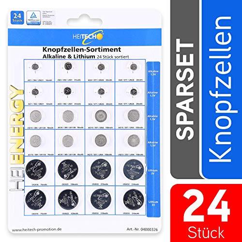 HEITECH 24er Pack Alkaline & Lithium Knopfzellen Batterie - 2X AG1 / 2X AG3 / 4X AG4 / 4X AG10 / 4X AG13 / 2X CR2016 / 2X CR2025 / 4X CR2032-1,5V & 3V Knopfbatterien auslaufsicher
