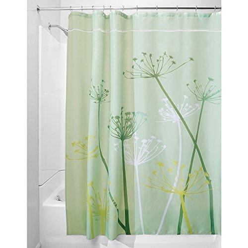 iDesign Thistle Duschvorhang | 180,0 cm x 200,0 cm großer Badewannenvorhang | waschbarer Duschvorhang aus weichem Stoff | mit Blumen-Motiv | Polyester grün