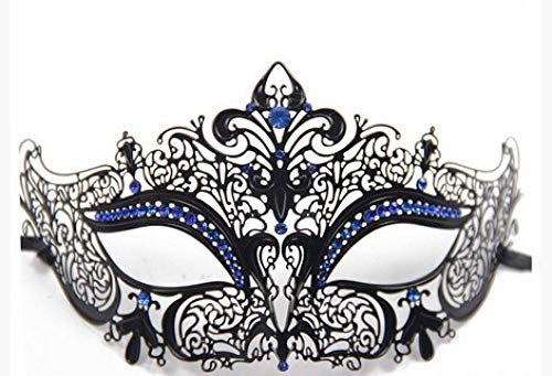 Masquerade Mask Maske Damen Metall Diamant Männer Party Requisiten Geeignet Für Halloween Karneval Weihnachten Neujahr Party Maskerade Maske,Blue Diamond