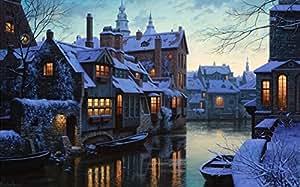 Canal d'hiver avec de jolis petits bateaux et Paysage de neige LED rétroéclairé Tableau toile tendue, Fonctionne avec pile, 9 LEDS, prêts à poser