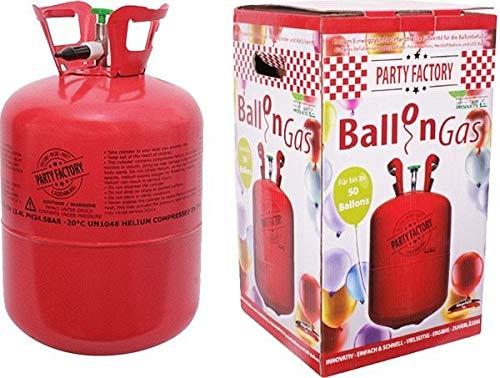 Party Factory Helium Ballongas für 50 Luftballons Set Einwegzylinder (Pfandfrei) und Füllventil (Halloween Baratos Disfraces)