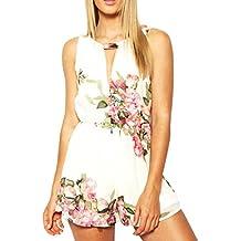 Sannysis® Mujeres Floral del Verano sin Mangas de Gasa de impresión sin Respaldo Jumpsuit (