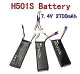 Fytoo 3PCS 7.4V 2700mAh Lipo Batería y 3 en 1 Cable de Conversión para Hubsan X4 H501S H501A H501C H501M H501S W H501S proQuadrocopter Drone