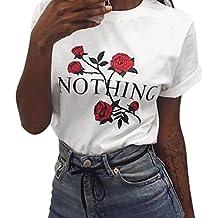 Rawdah Joven y bella Mujeres Nada Rose Impresión Summer Loose Tops Blusa de manga corta Camiseta (S, Blanco)