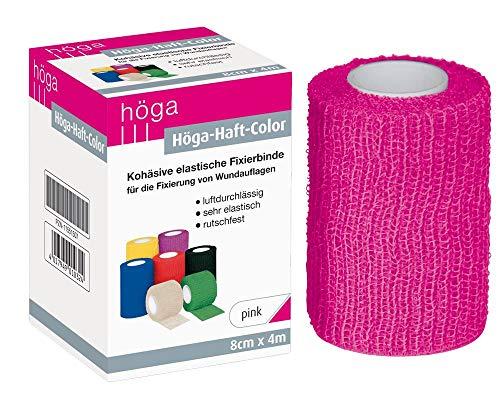 Höga Color pink 8 cm x 4 m gedehnt - Sonderedition kohäsive selbsthaftende elastische Fixierbinde für die Fixierung von Wundauflagen, 1 Stück