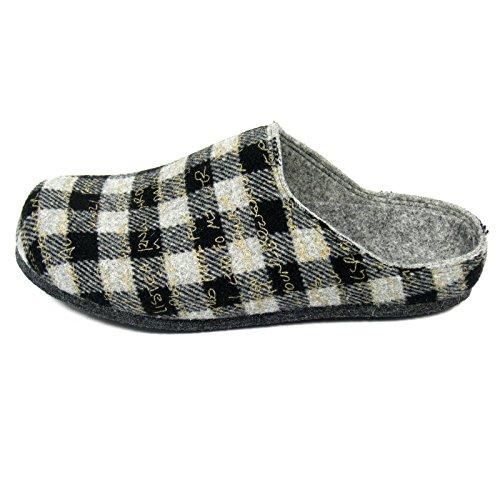 WOLLFIS pantoufles Chaussons avec semelle ABS Hommes Slipper unisexe adulte Gris