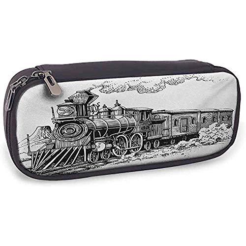 Lederne Bleistift-Taschen-Dampfmaschine Einfach, rustikalen alten Zug in der Land-Lokomotiven-hölzernen Lastwagen-Eisenbahn mit Rauche zu tragen