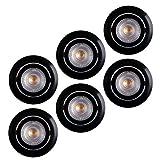 LED Einbaustrahler 6x Ultraflach 5 Watt Schwarz schwenkbar 230V Rund warmweiß Deckenstrahler Spot Deckenspot