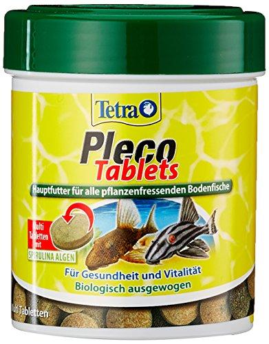 Tetra Pleco Tablets (Grünfutter-Tabletten mit einem hohen Anteil an Spirulina-Algen, Hauptfutter für alle pflanzenfressenden Bodenfische und scheuen Zierfische), 275 Tabletten Dose - Tablette