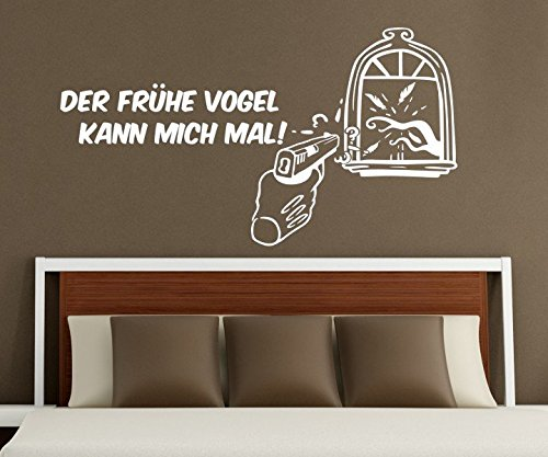 Wandtattoo Der frühe Vogel kann mich mal Spruch lustig Zitat Fenster sticker Aufkleber DUB Schlafzimmer 1D186