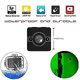 YOMRIC Mini Spy Versteckte Kamera, Wasserdichte Extreme Full HD Kamera mit 155 ° Weitwinkelobjektiv, Kindermädchen/Haushälter Cam mit Nachtsicht & Bewegungserkennung, Sport Action Cam mit Montagezub