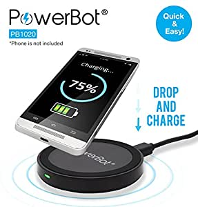 PowerBot® PB1020 Qi Enabled Wireless Charging Pad Station for All Qi Standard Compatible Devices Including Samsung, iPhone, Nokia, Google, Nexus, LG, HTC and Other Smartphones with Receivers (AC Adapter Not Included. Micro USB Cable Included), Black