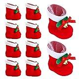 CoolMarteu Nikolausstiefel Weihnachtsstiefel zum Befüllen Rot Klein Adventskalender Kinder Bonbons Süßigkeiten Plüsch Stoff Weihnachtssocken Weihnachtsdeko Stiefel