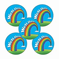 210 Well Done Rainbow Motivational Childrens Pupils School Praise Teachers Reward Stickers 25mm Primary Teaching Services