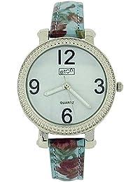 Eton Ladies White Dial, Light Blue Floral Design Fashion PU Strap Watch 3197L