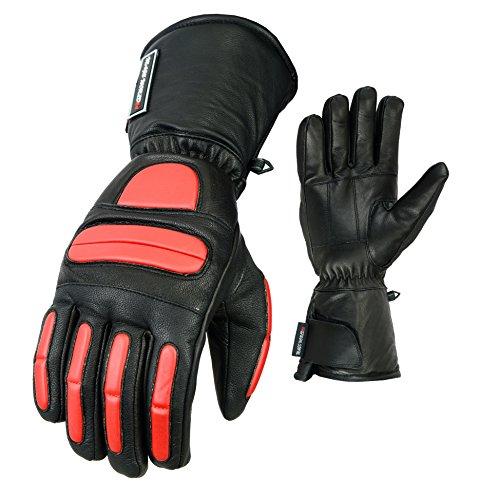 MAGS World24 Leder Motorrad Thermo Handschuhe aus echtem Lamm Nappaleder in schwarz rot mit Protektoren und Armshaft warmes Innenfutter