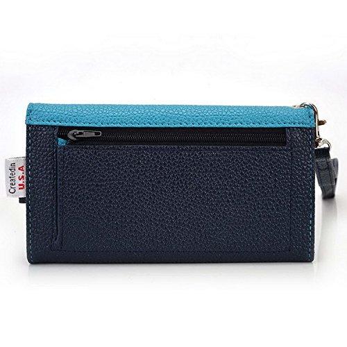 Kroo Pochette Téléphone universel Femme Portefeuille en cuir PU avec dragonne compatible avec LG Escape 2 Violet - violet Bleu - bleu