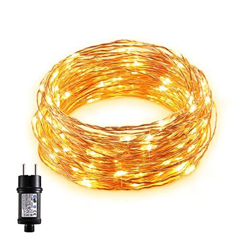 Gladle LED Lichterketten 10m mit 100 LEDs, Wasserdichter Kupferdraht, Dekorative Leuchten für Schlafzimmer, Hochzeit, Partys, Bäume, Flaschen, Innen & Außenbereich, Warmweißes Leuchtkäferlicht -