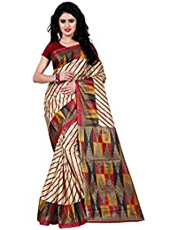 Being Banarasi Women's Raw Silk Stripe & Geometric Print Saree Without Blouse Piece(1013_P)